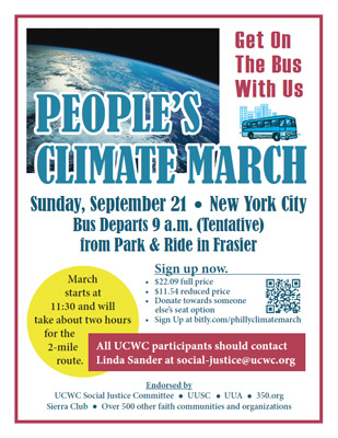 In 2014, UCWC sent a contingent to the People's Climate March in NYC