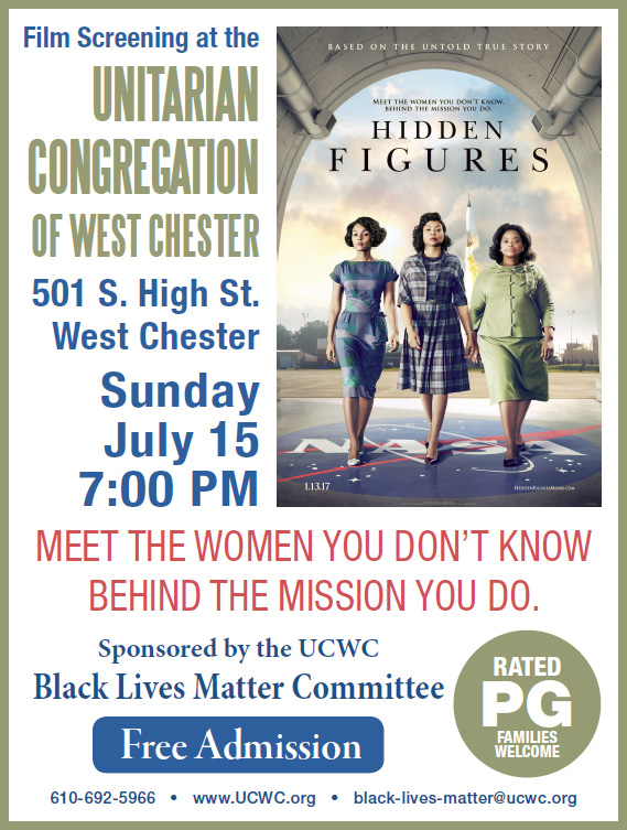 Black Lives Matter Film Screening: Hidden Figures @ UCWC Sanctuary | West Chester | Pennsylvania | United States