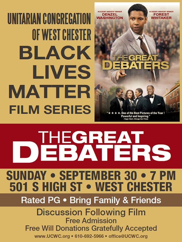 """BLM Fall Film Series Presents: """"The Great Debaters"""" @ UCWC Sanctuary and Fellowship Room"""