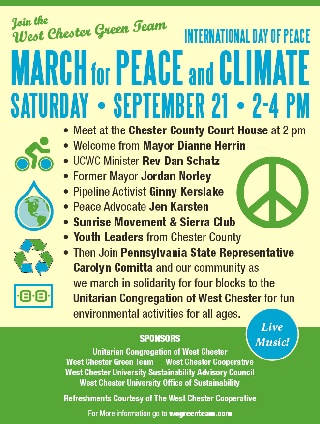 International Day of Peace March & Environmental Booths @ WC Courthouse to UCWC Sanctuary