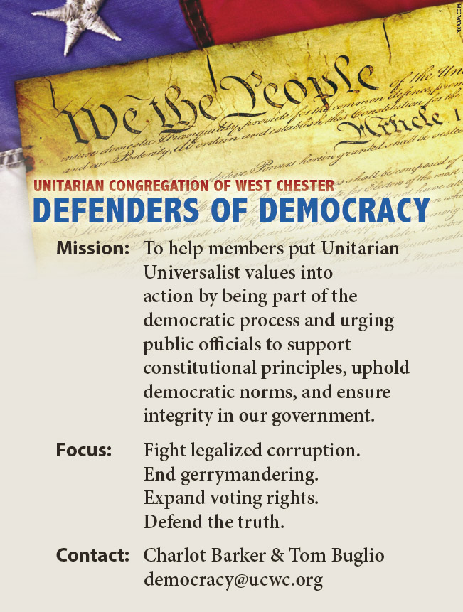 Defenders of Democracy  - NEW TIME! @ Join URL: https://zoom.us/j/414474471?pwd=dGpEOU9mcjNCRlhJWm1kM2RONzN3dz09 | West Chester | Pennsylvania | United States
