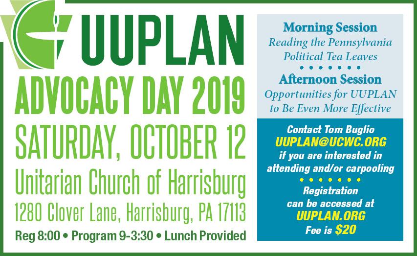 UUPLAN Advocacy Day 2019 @ Unitarian Church of Harrisburg   Harrisburg   Pennsylvania   United States