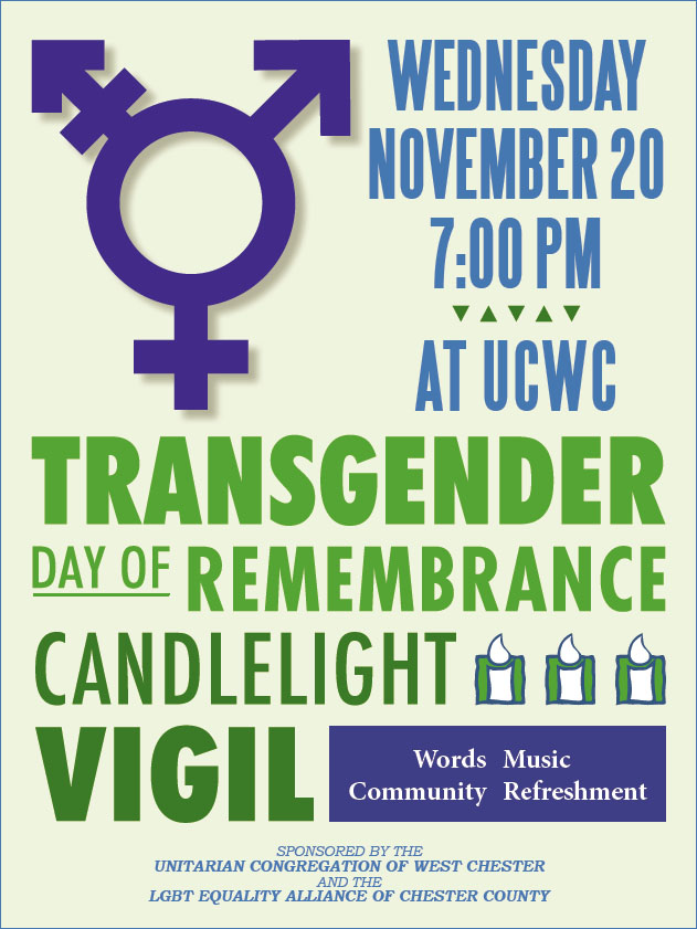 Transgender Day of Remembrance Vigil @ UCWC | West Chester | Pennsylvania | United States