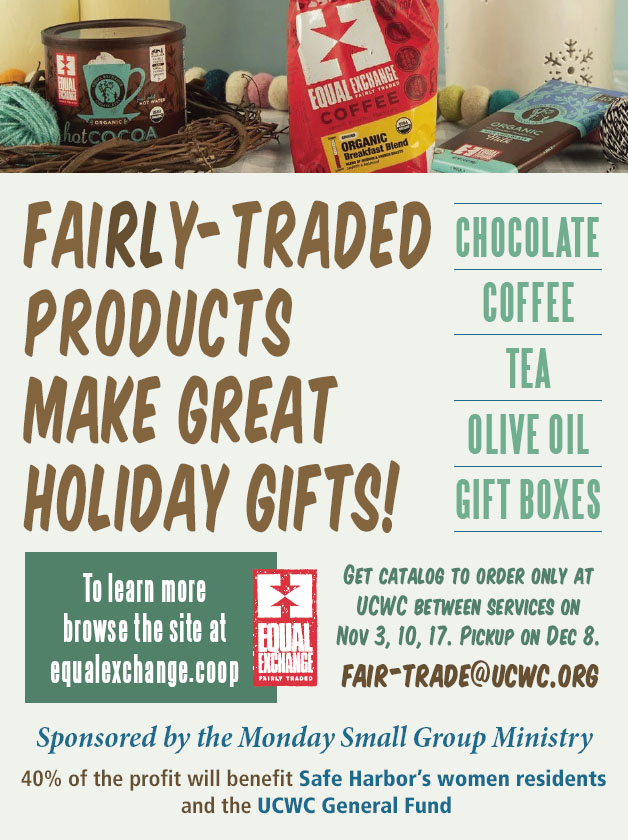 Holiday Fairly-Traded Products Fundraiser @ UCWC - Back of the Sanctuary