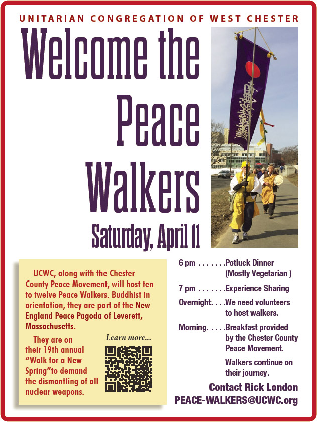 POSTPONED - Welcome the Peace Walkers @ UCWC Sanctuary & Social Room